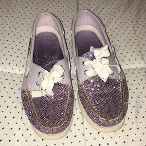 Purple glittery Slip on shoes